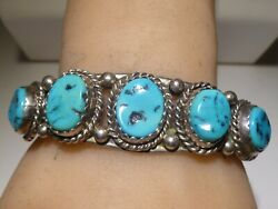 Morenci Nugget Raw Turquoise Cuff Bracelet Sterling Navajo Vintage Native