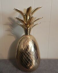Brass Pineapple 2 Pc. Vintage Big Ice Bucket 13.25andrdquo Tall And Heavy 4 Lb. 2.3 Ozs.