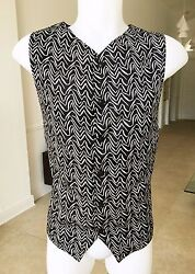 Gianni Versace Black And White Men's Vest Waves Print Size It 50 From 1997