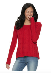 So American Heritage Juniors Sweater Pullover Size S Red Cable-Knit NWT gift
