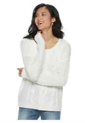 So American Heritage Juniors Sweater Pullover Size XS White Cable-Knit NWT gift