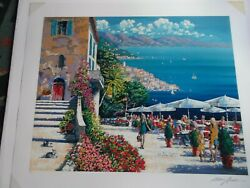 Kerry Hallam -Cafe de la Rampart hand-signed  numbered serigraph on paper