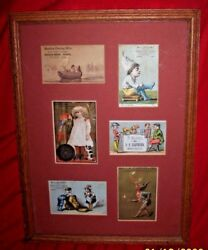 Antique Collection Of 6 Framed Matted Boots Shoes Clothing Flour  Trade Cards
