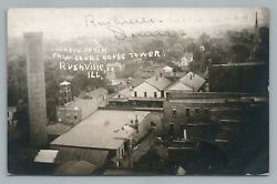 Rushville Il From Courthouse Tower Rppc Schuyler County Illinois Photo—antique