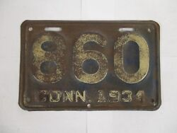 1934 Connecticut Motorcycle License Plate Tag With Ct Area Code