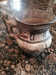 Zuni Zia Olla Pitcher With Birds And Deer Old 1875. Bobcat Han. Size 5 1/4 X 6