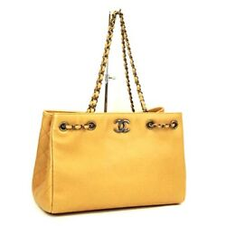 Chain Shoulder Tote Bag Camel Soft Caviar Skin Leather Woman Auth Rare