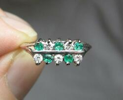 Emerald Diamond Cocktail Wedding Engagement Ring 14k Gold Antique Jackie Kennedy