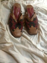 Sharif Size 8M Ladies Tapestry And Leather Shoes With Leather Soles