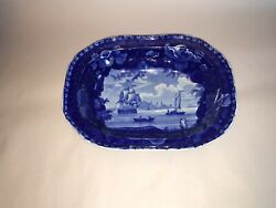 Lc3 Historical Staffordshire Blue Vegetable Dish Edith The Thames 11 1/2andrdquo 1825