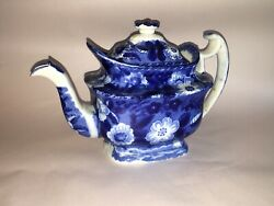 La3 Historical Staffordshire Blue Teapot In A Floral Pattern Ca. 1825