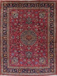 Antique Geometric Red Kashmar Oriental Hand-knotted 10x13 Wool Area Rug