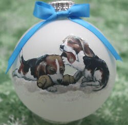 D065 Hand made Christmas Ornament dog Beagle puppies playing lt blue