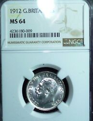 1912 Great Britain Shilling Km 816 Ms64 Ngc