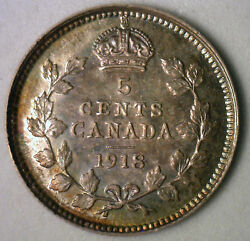 1918 Silver Canadian George V  Nickel Coin Canada Five Cent MS