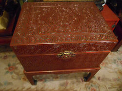 Antique Marked Ming Dy Yung-lo Period Carved Wood Over Lacquer Chest H25 Sets