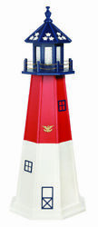Amish Made Wood Garden Lighthouse - Patriotic Barnegat - Size And Lighting Options