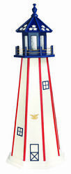 Amish Made Wood Garden Lighthouse - Patriotic Standard - Size And Lighting Options