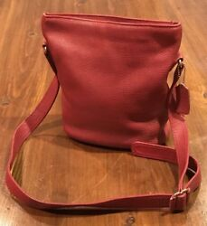 Vtg RED COACH Sonoma Bucket Pebbled Leather Bag #4907 $89.99