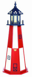 Amish Made Wood Garden Lighthouse - Patriotic Cape Henry - Size Lighting Options