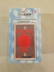 Dynalock Push To Exit - Pneumatic Time Delay 6290 Palm Switch 1-5/8 Dia Red But
