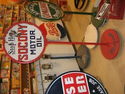 24 Porcelain Sign And Base....cities.,mobil., Socony., Wolfs Head , Wht Star