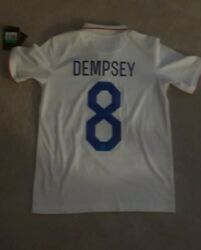 2014 World Cup Nike Usa Soccer Jersey Dempsey 8 White Boys/youth Xl
