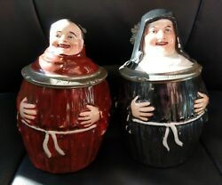 Rare Set Of Antique Authentic Munich Monk And Nun Beer Stein With Lithophane