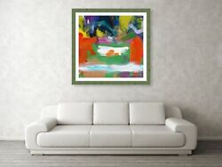 Large Square Abstract Wall Decor Modern Canvas Art Acrylic Paintingmilk Pool