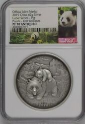 Ngc Pf70 2019 China Panda Lunar Series - Pig, 62g Silver And Antique 2 Medals