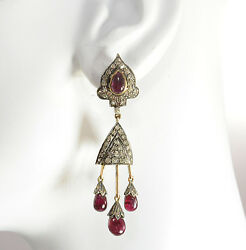 14kt Gold And Sterling Silver Diamond And Pink Tourmaline Chandelier Earrings
