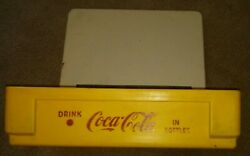 Vtg Coca Cola Pakster 4016 Hinged Lid Yellow White Vintage Plastic Crate Box