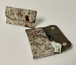 Raviani Flat Wallet  Coin Bag In Salt & Pepper Hair On Cowhide Leather (USA)