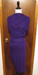 Alexander McQueen Purple Rayon Ruched & Gathered Sheath Dress Sz 40 NWT