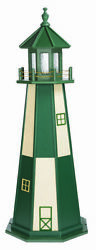 Amish Made Wood Garden Lighthouse Cape Henry Turf Green And Ivory - Light Options