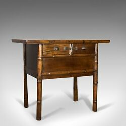 Oriental Side Table Chinese Elm Cabinet Late 20th Century