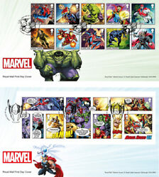 Great Britain 2019 - Marvel Fdcand039s Fdc Set And Fdc Miniature Sheet