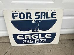 Vintage Wood Eagle Sign 32andrdquo X 24andrdquo X 1/2andrdquo Blue/white Eagle With Phone Number
