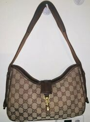 PRE OWNED GUCCI GG JACKIE SHOULDER TOTE CANVAS LEATHER BAG $300.00