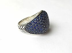 David Yurman Limited Production Menand039s Pave Heirloom Ring In Blue Sapphire