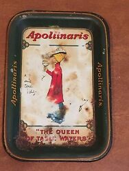 Antique Queen Of Table Waters Bar Tip Tray Advertising Apollinaris Water C1900