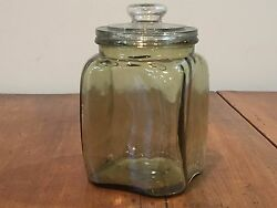 Antique Amber Glass General Store Counter Jar Kitchen Canister