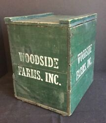 Antique Wooden Milk Crate Box Advertising Woodside Farms Dairy