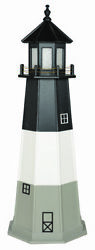 Amish Made Wood Garden Lighthouse Oak Island Replica - Size And Lighting Options