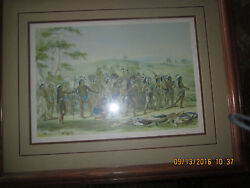 George Catlin Native American Indian Art Print Game Of The Arrow Vintage 1950s