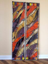 Abstract Stained Glass Window Transom Panel Contemporary Set Of 2
