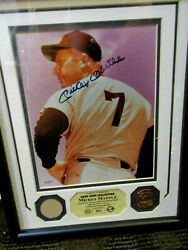 Mickey Mantle Signed Photo Framed With Mantle Game Used Bat Relic Numbered 52