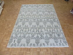 9and03910 X 13and03910 Hand Knotted Soft Aqua Blue Ikat Peshawar Oriental Rug G5214