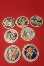 Seven Ceramic Decorated Coasters From Greece