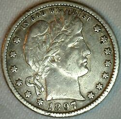 1897 O Silver Barber Quarter 25 Cent Us Coin 25c Xf Extra Fine New Orleans Mint